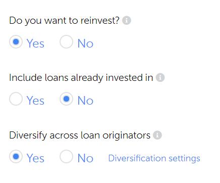 Ρυθμίσεις Autoinvestment tool της Mintos