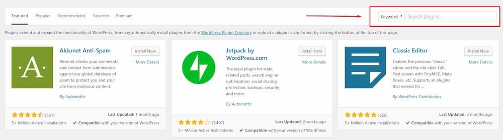 Αναζήτηση Plugin στο WordPress