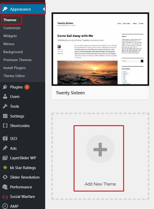 Προσθήκη Νέου Theme WordPress