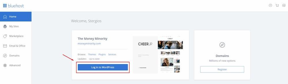 Σύνδεση στο WordPress για πρώτη φορα μέσω BlueHost