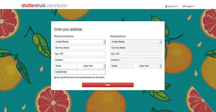 Δημιουργία Shutterstock Contributor λογαριασμού για πώληση φωτογραφιών online - Στοιχεία Διεύθυνσης