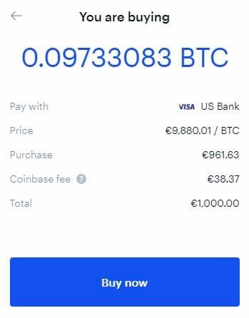 Αγορά Bitcoin αξίας 1000 Ευρώ από το Coinbase με Κάρτα.