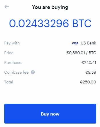 Αγορά Bitcoin αξίας 250€ με Κάρτα