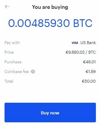 Αγορά Bitcoin αξίας 50 Ευρώ από το Coinbase