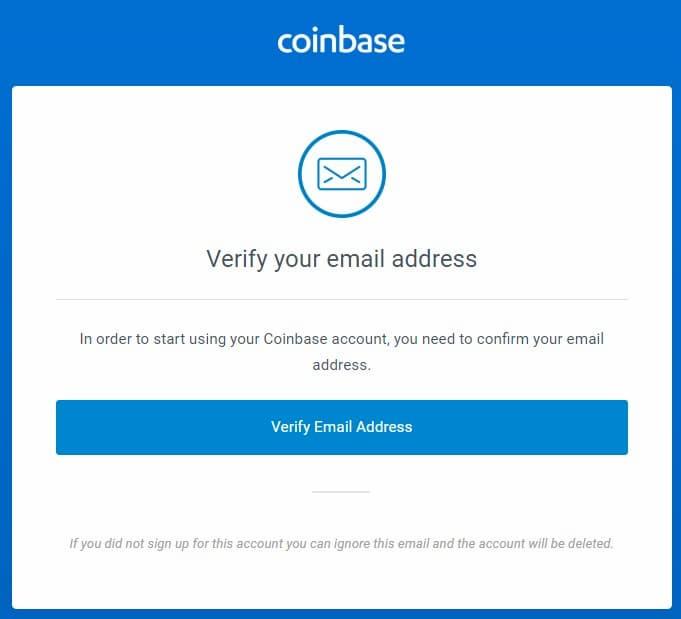 Δημιουργία Λογαριασμού στο Coinbase - Επιβεβαίωση Email