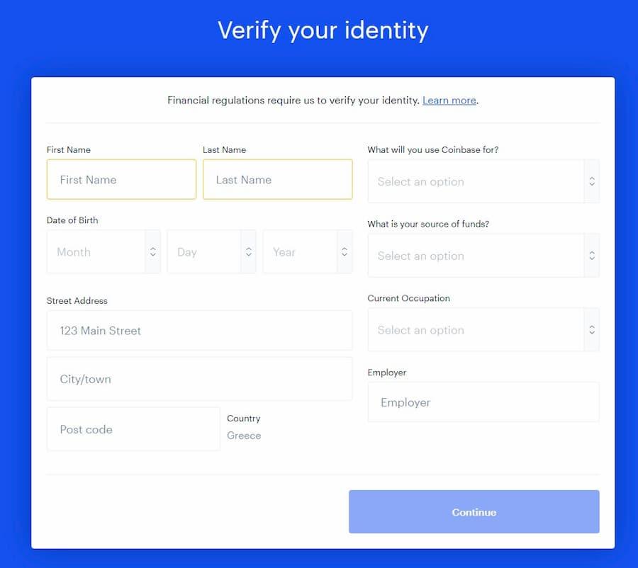 Δημιουργία Λογαριασμού στο Coinbase - Στοιχεία Ταυτότητας