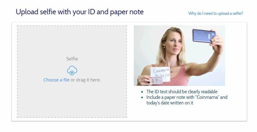 Διαδικασία Verification Coinmama Uploading a Selfie with a note