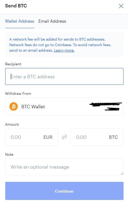 Αποστολή BTC από Coinbase