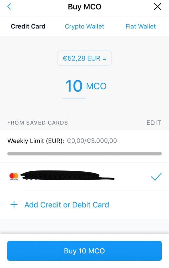 Προσθήκη Χρεωστική ή Πιστωτικής κάρτας στο crypto.com