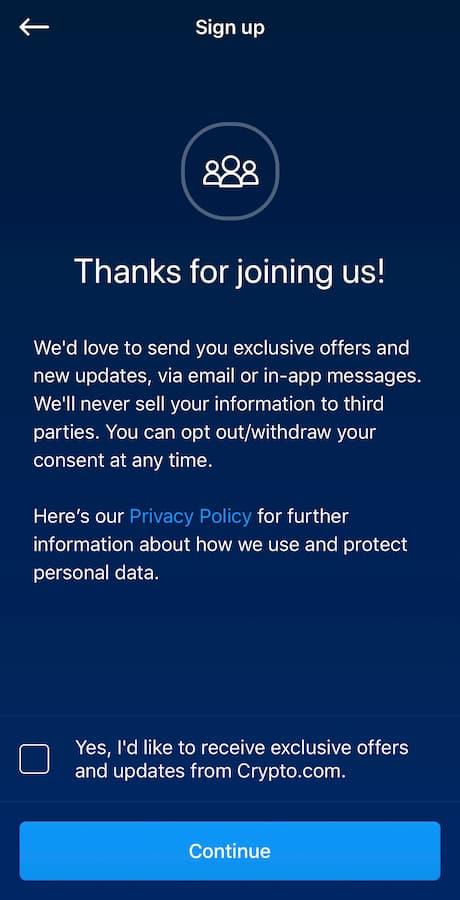 Συγκατάθεση για promotional ενέργειες από το Crypto.com