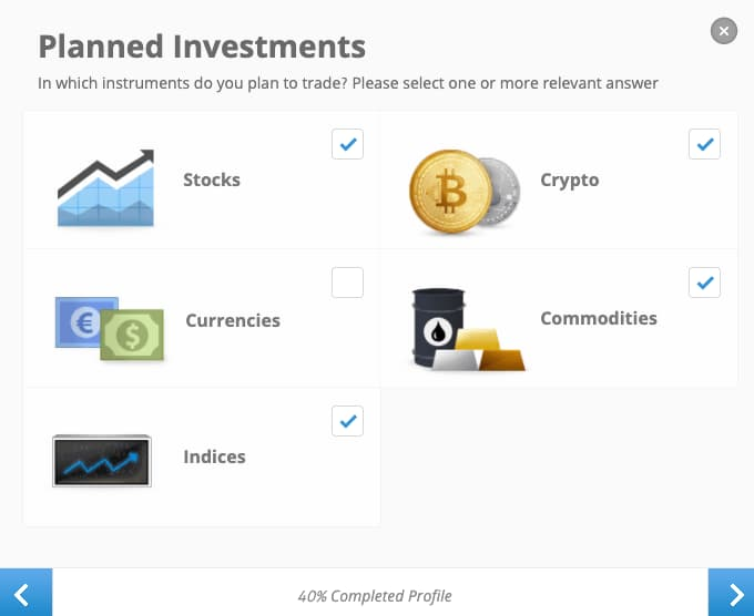 Επιλογή Επενδυτικών Προϊόντων - Δημιουργία Λογαριασμού eToro