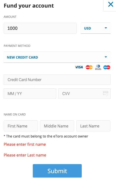 Κατάθεση Χρημάτων με Πιστωτική Κάρτα στο eToro