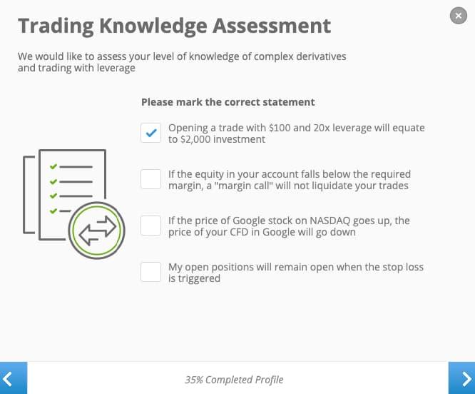 Test Επενδυτικών Γνώσεων - Δημιουργία Λογαριασμού eToro