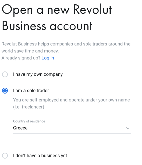 Άνοιγμα εταιρικού λογαριασμού στη Revolut