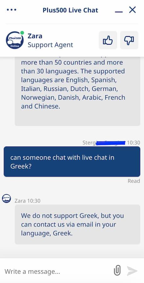 Plus500 live chat