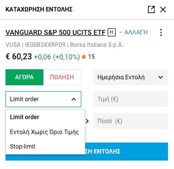 Limit Order, εντολή χωρίς όριο, stop-limit εντολή DEGIRO
